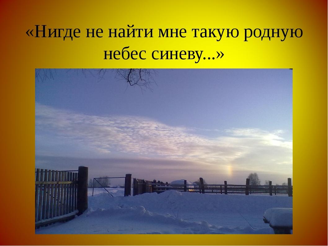 «Нигде не найти мне такую родную небес синеву...»