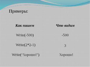Примеры: Write(-500) -500 Write(2*2-1) 3 Write('Хорошо!') Хорошо! Как пишем
