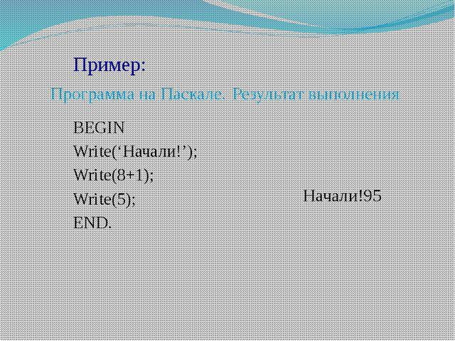 Пример: Программа на Паскале.Результат выполнения BEGIN Write('Начал...