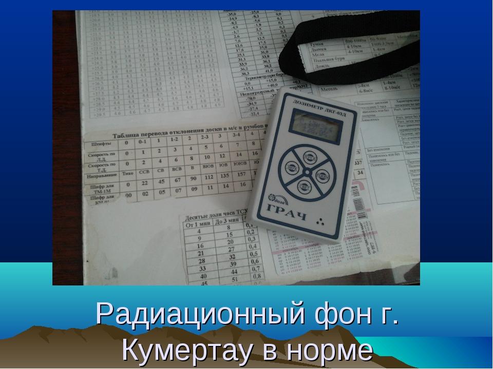Радиационный фон г. Кумертау в норме
