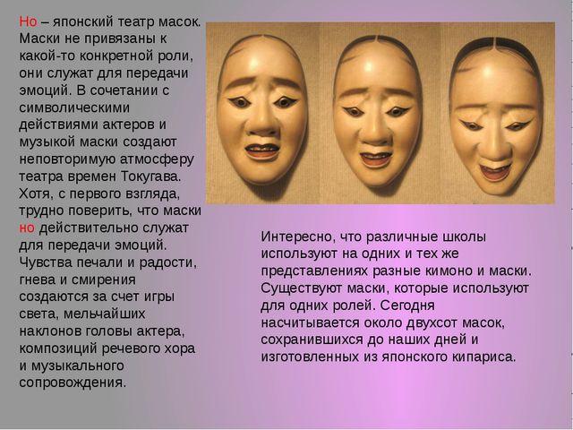 Но – японский театр масок. Маски не привязаны к какой-то конкретной роли, они...