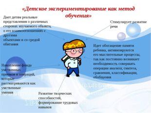 «Детское экспериментирование как метод обучения» Дает детям реальные представ