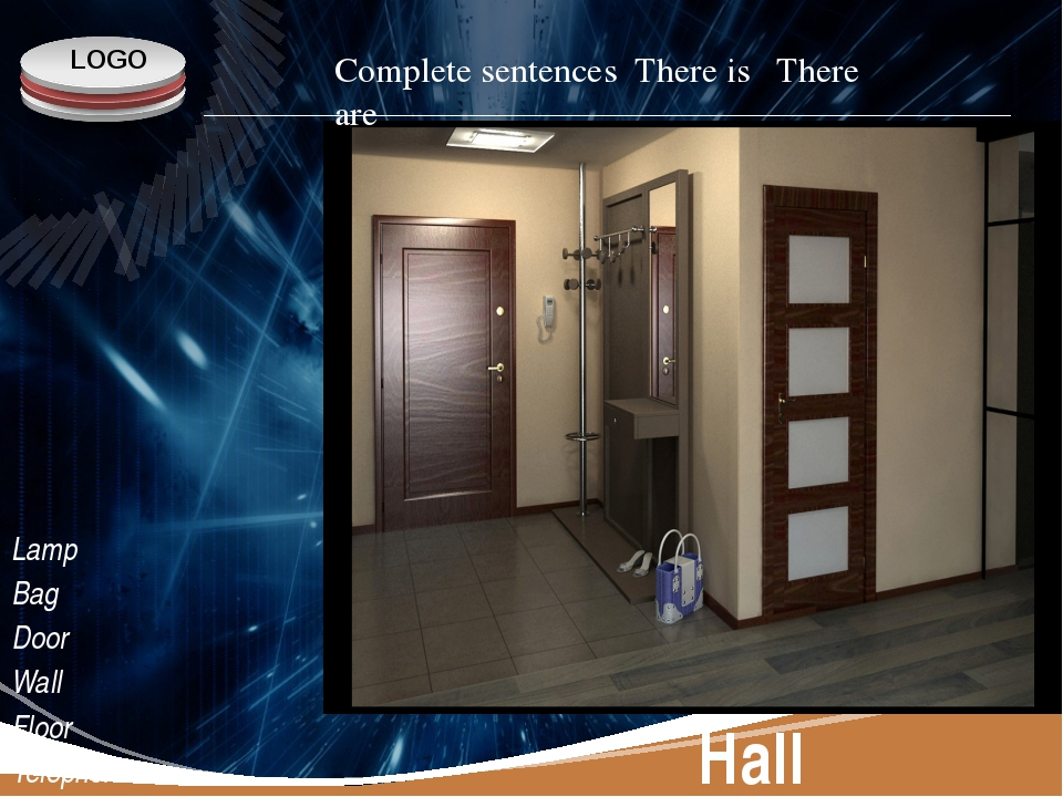 Hall Lamp Bag Door Wall Floor Telephone Complete sentences There is There are...