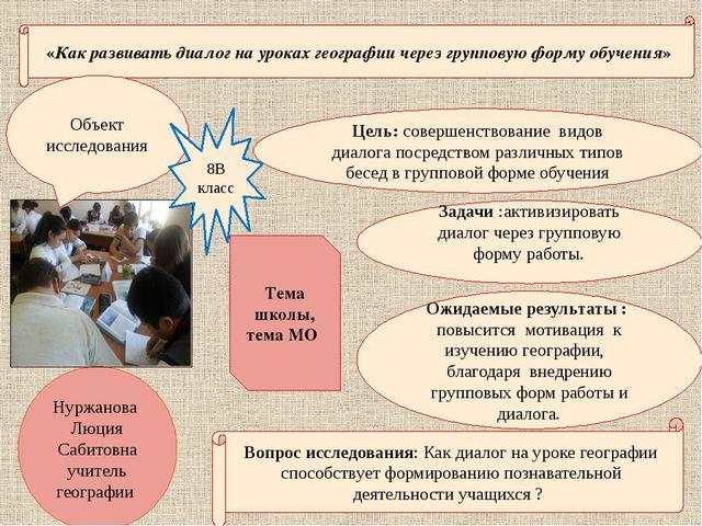 «Как развивать диалог на уроках географии через групповую форму обучения» Цел...