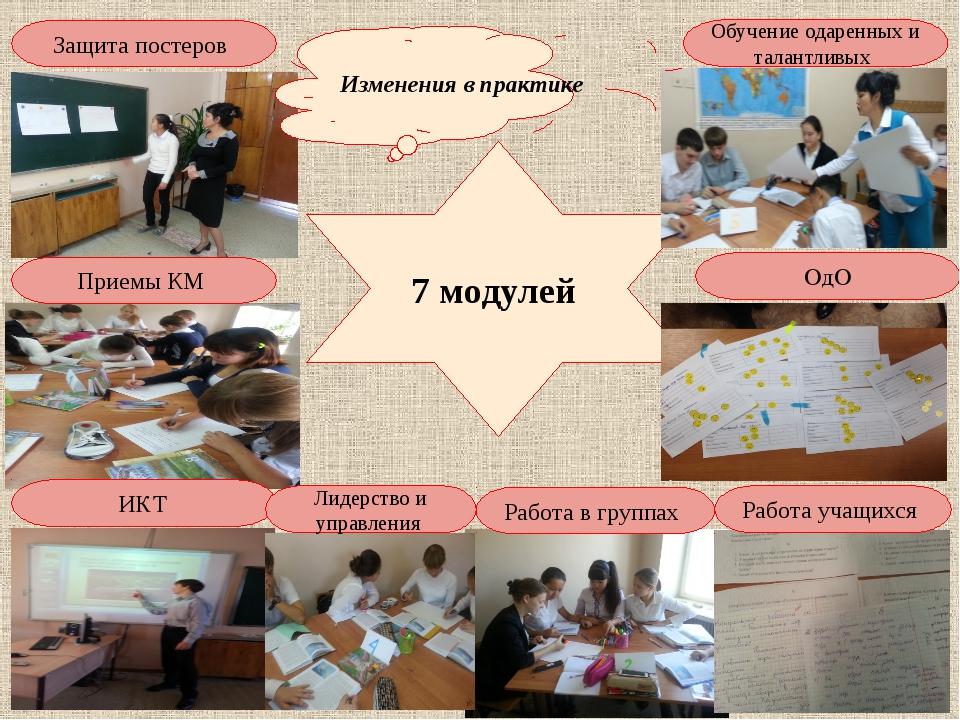 7 модулей Защита постеров Обучение одаренных и талантливых ОдО Работа учащихс...