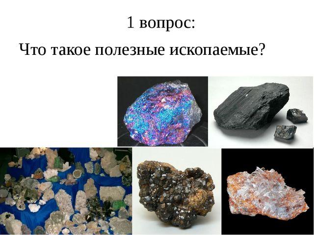 1 вопрос: Что такое полезные ископаемые?