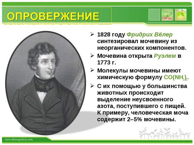 1828 году Фридрих Вёлер синтезировал мочевину из неорганических компонентов....