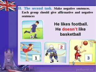 He likes football. He doesn't like basketball II. The second task. Make