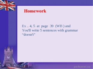 Homework Ex .. 4, 5  at  page  39 (WB ) and You'll write 5 sentences with gra