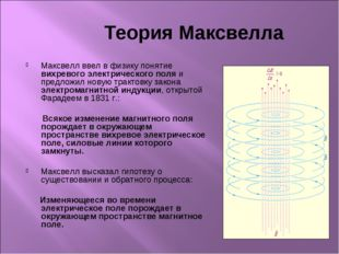 Теория Максвелла Максвелл ввел в физику понятие вихревого электрического пол