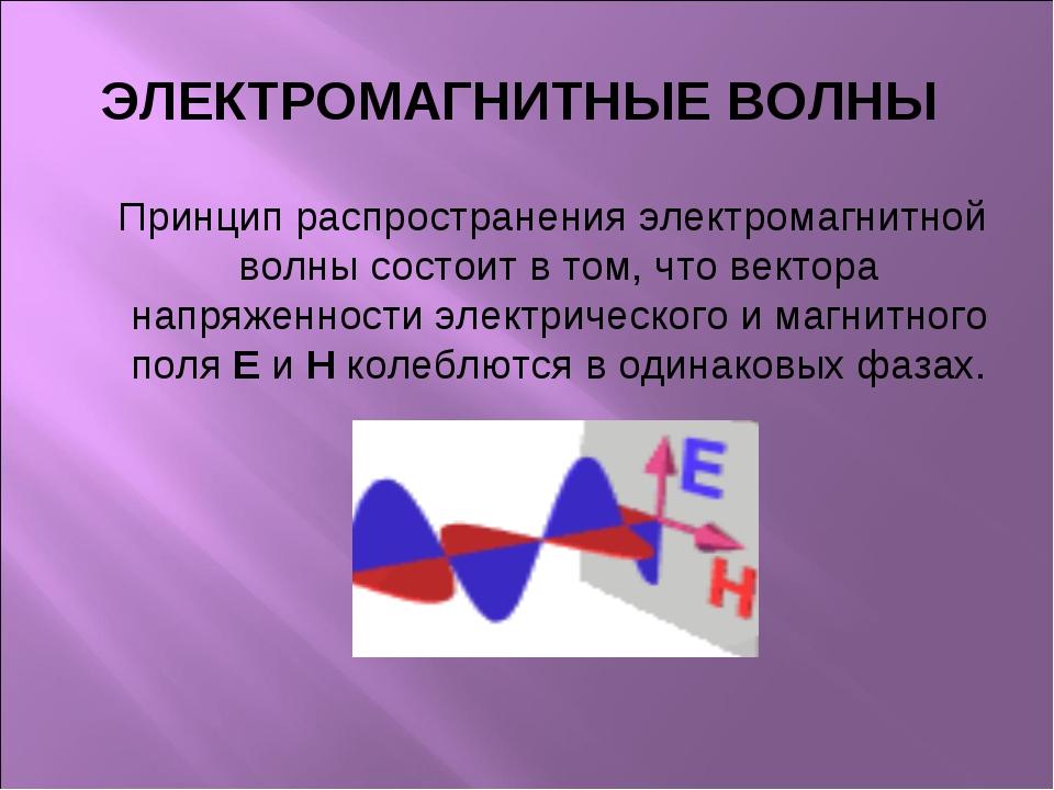 ЭЛЕКТРОМАГНИТНЫЕ ВОЛНЫ Принцип распространения электромагнитной волны состоит...