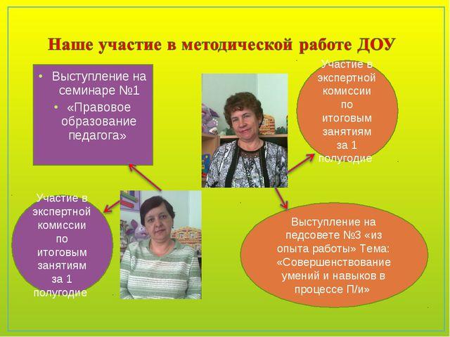 Выступление на семинаре №1 «Правовое образование педагога» Участие в экспертн...