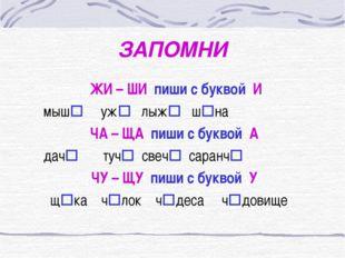 ЗАПОМНИ ЖИ – ШИ пиши с буквой И мыш уж лыж шна ЧА – ЩА пиши с буквой А да