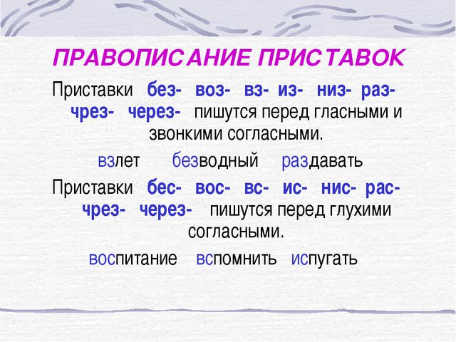 ПРАВОПИСАНИЕ ПРИСТАВОК Приставки без- воз- вз- из- низ- раз- чрез- через- пиш...