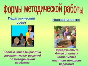 Педагогический совет Коллективная выработка управленческих решений по методич