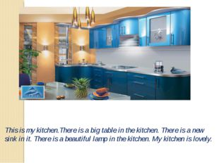 This is my kitchen.There is a big table in the kitchen. There is a new sink i