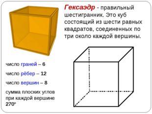 Гексаэдр - правильный шестигранник. Это куб состоящий из шести равных квадрат