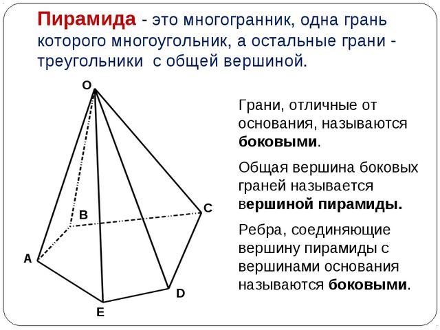 Пирамида - это многогранник, одна грань которого многоугольник, а остальные г...