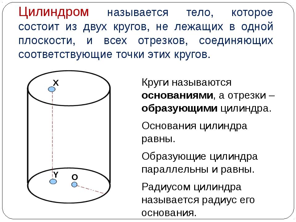 Цилиндром называется тело, которое состоит из двух кругов, не лежащих в одной...