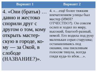 Вариант 1 Вариант 2 4. «Они (братья) …давно и жестоко спорили друг с другом о