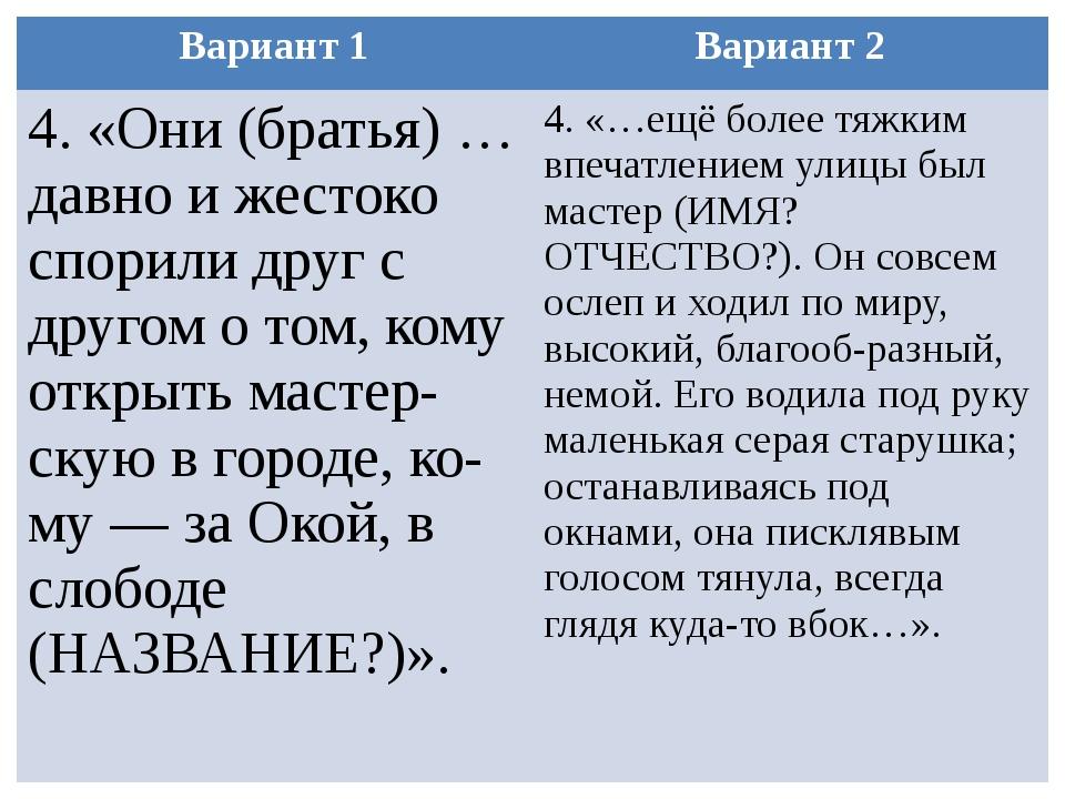 Вариант 1 Вариант 2 4. «Они (братья) …давно и жестоко спорили друг с другом о...