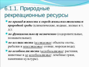 6.1.1. Природные рекреационные ресурсы по принадлежности к определенным компо