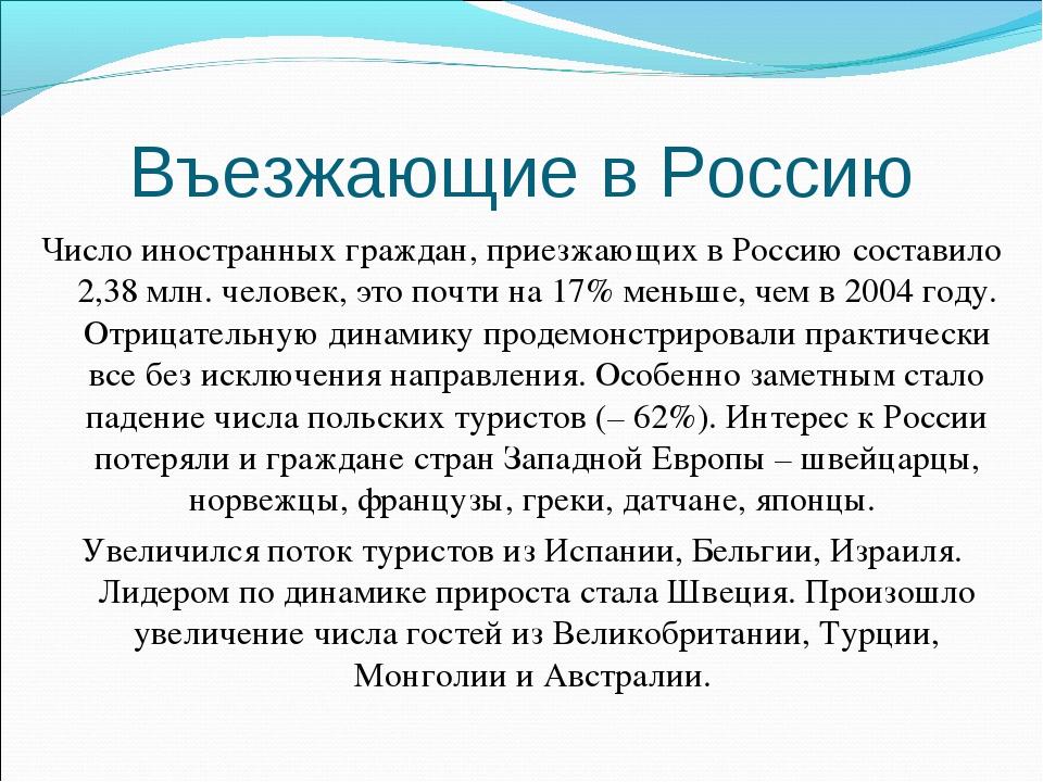 Въезжающие в Россию Число иностранных граждан, приезжающих в Россию составило...