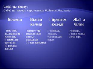Сабақты бекіту: Сабақты инсерт стротегиясы бойынша бекітеміз. БілемінБілгім