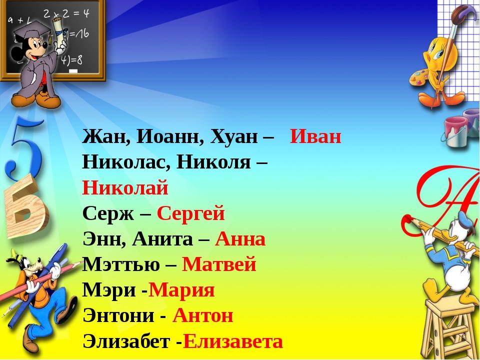 Жан, Иоанн, Хуан – Иван Николас, Николя – Николай Серж – Сергей Энн, Анита –...