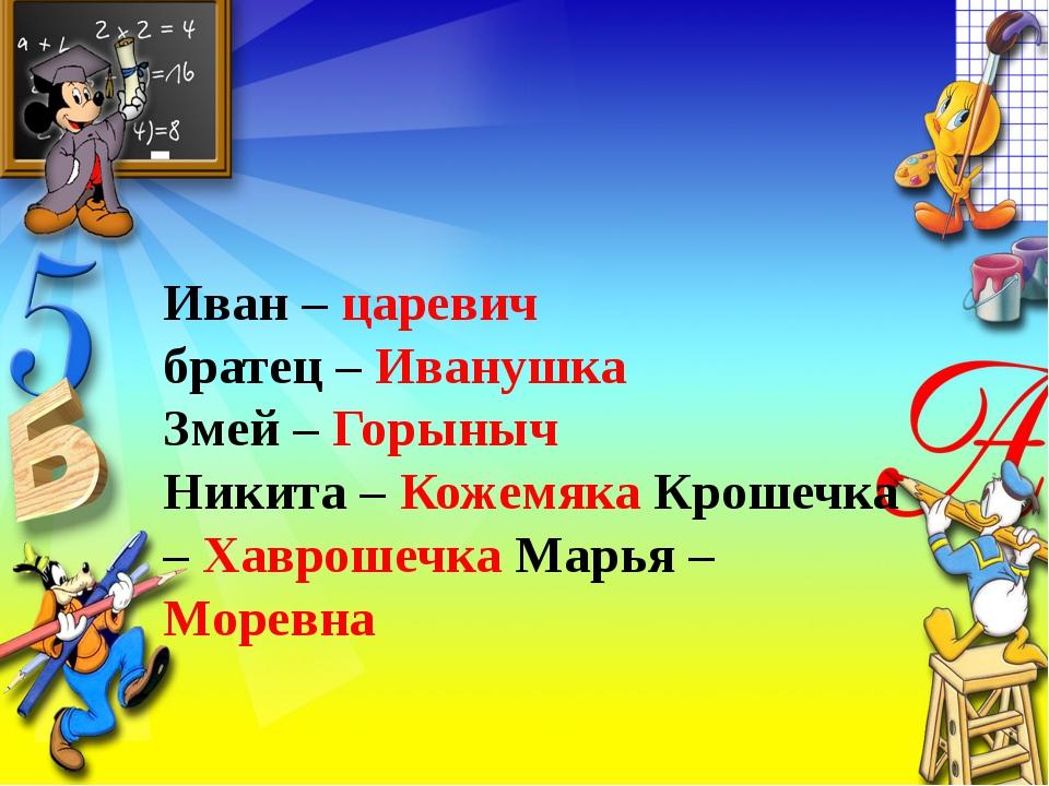 Иван – царевич братец – Иванушка Змей – Горыныч Никита – Кожемяка Крошечка –...
