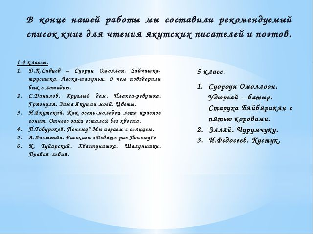 В конце нашей работы мы составили рекомендуемый список книг для чтения якутск...