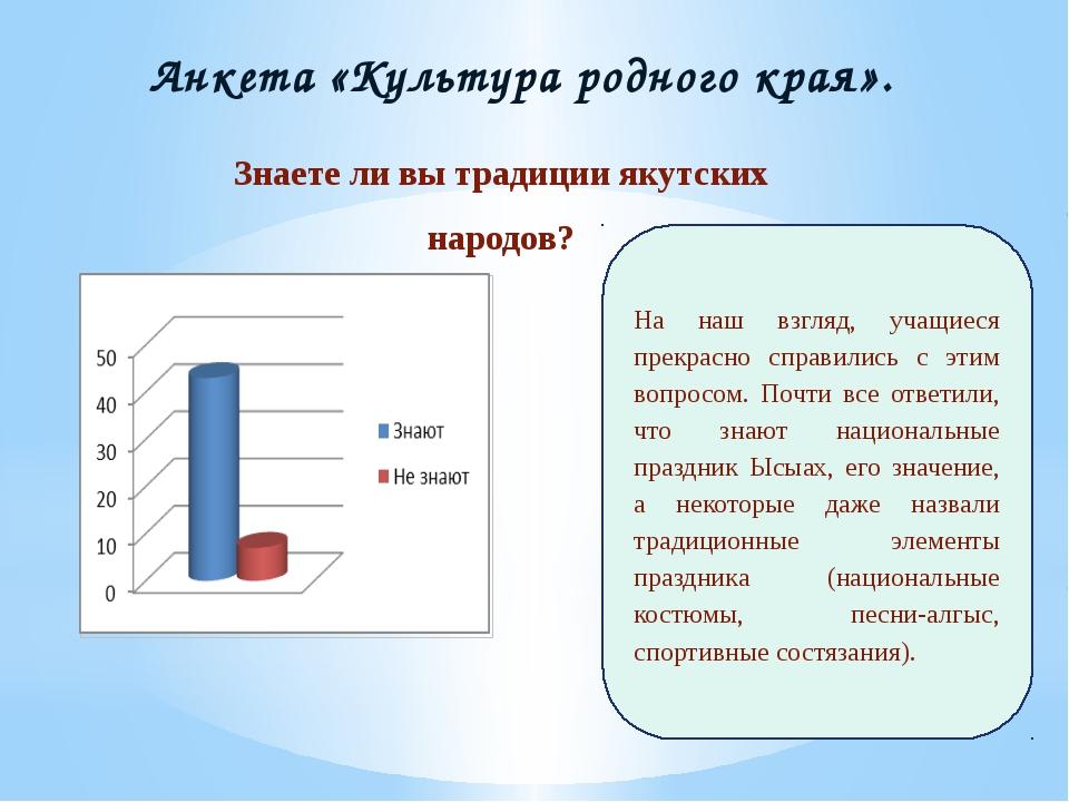 Анкета «Культура родного края». Знаете ли вы традиции якутских народов? На на...