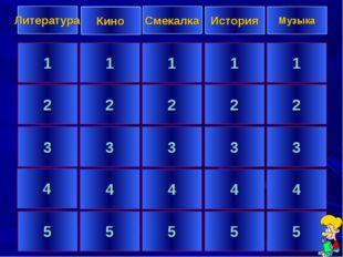 1 2 3 4 5 1 2 3 4 5 1 2 3 4 5 1 2 3 4 5 1 2 3 4 5 Литература Кино Смекалка Ис