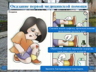 Оказание первой медицинской помощи Промыть рану проточной водой. Смазать рану