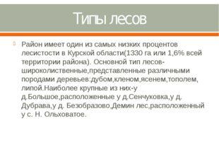 Типы лесов Район имеет один из самых низких процентов лесистости в Курской об