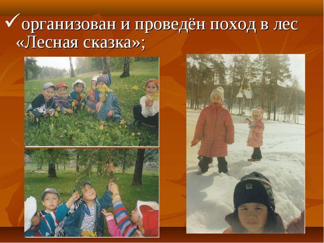 организован и проведён поход в лес «Лесная сказка»;