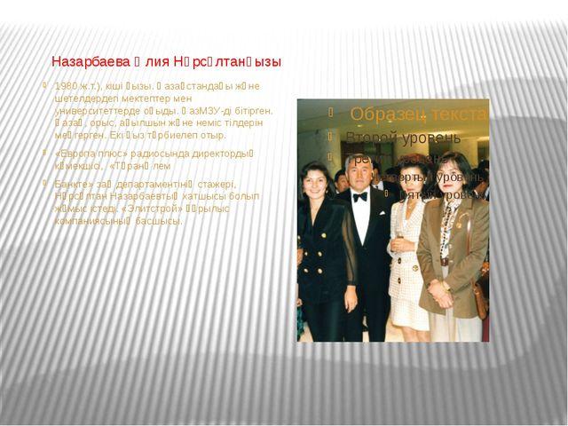 Назарбаева Әлия Нұрсұлтанқызы 1980 ж.т.), кіші қызы. Қазақстандағы және шете...