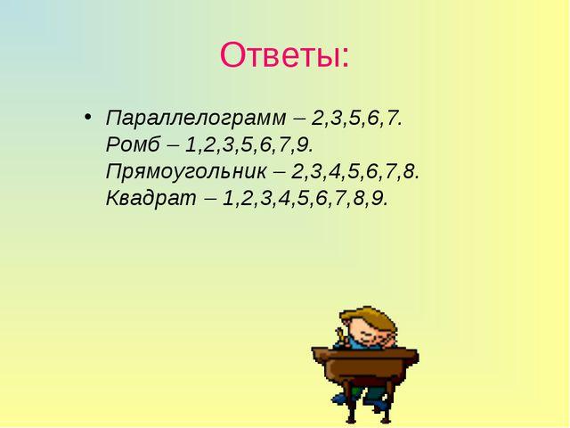 Ответы: Параллелограмм – 2,3,5,6,7. Ромб – 1,2,3,5,6,7,9. Прямоугольник – 2,3...