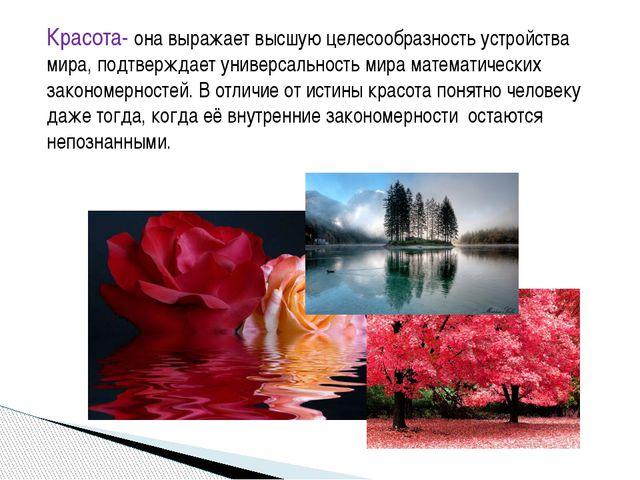 Красота- она выражает высшую целесообразность устройства мира, подтверждает у...