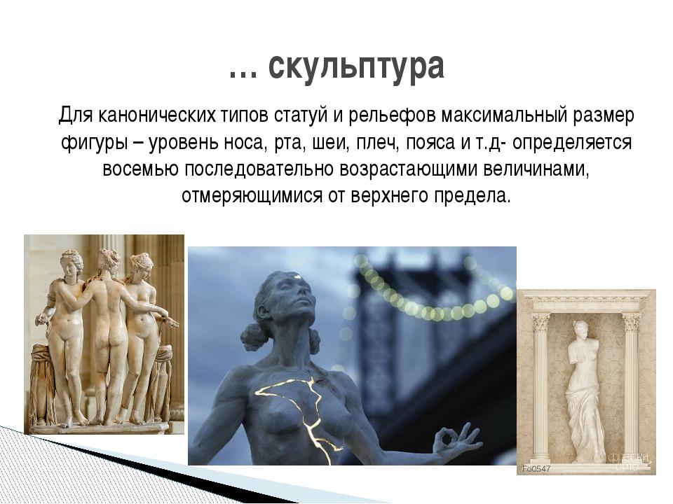 Для канонических типов статуй и рельефов максимальный размер фигуры – уровень...