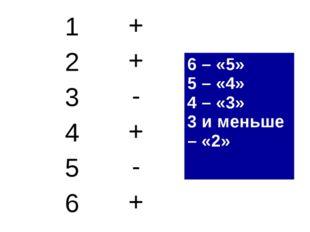 1+ 2+ 3- 4+ 5- 6+ 6 – «5» 5 – «4» 4 – «3» 3 и меньше – «2»