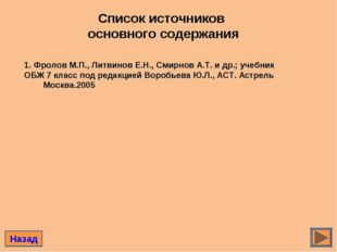 Список источников основного содержания Назад 1. Фролов М.П., Литвинов Е.Н., С