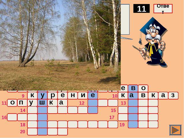 о ж а р Граница леса, иногда используемая в качестве опорной полосы 11 Ответ...