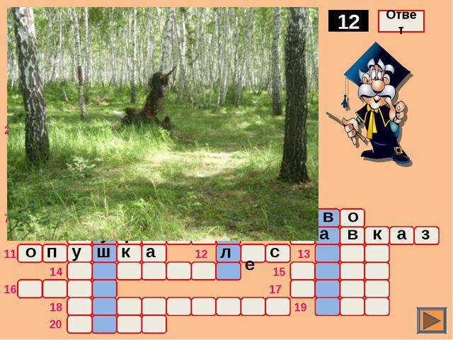 о ж а р Комплекс древесной растительности 12 Ответ о ч а г п 1 2 3 4 5 6 7 8...
