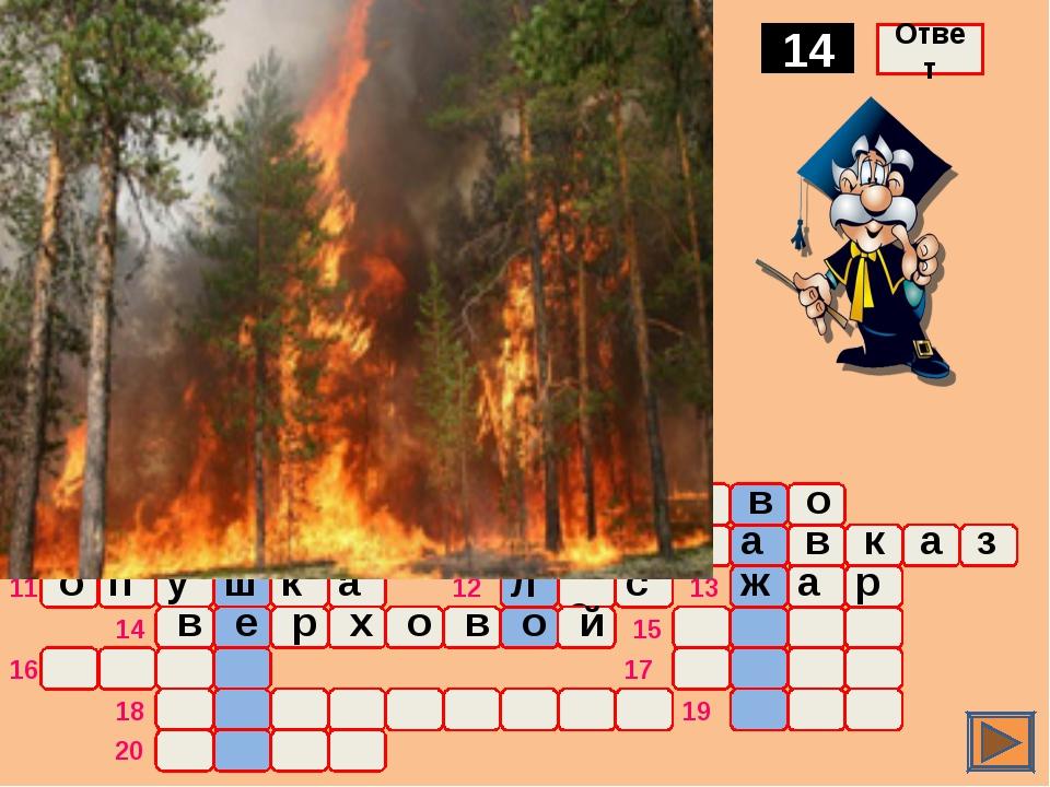 о ж а р Тип пожара, охватывающий кроны деревьев 14 Ответ о ч а г п 1 2 3 4 5...