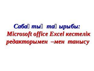 Сабақтың тақырыбы: Microsoft office Excel кестелік редакторымен –мен танысу