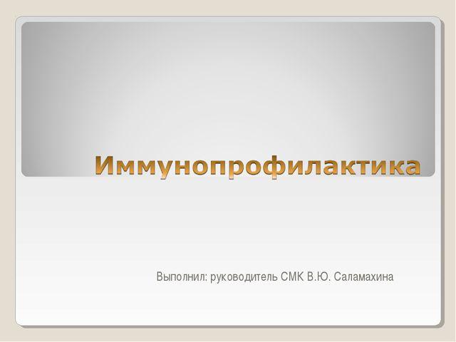 Выполнил: руководитель СМК В.Ю. Саламахина