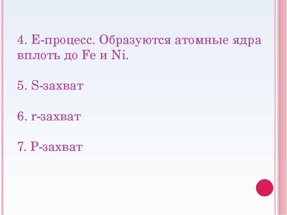 4. E-процесс. Образуются атомные ядра вплоть до Fe и Ni. 5. S-захват 6. r-зах...