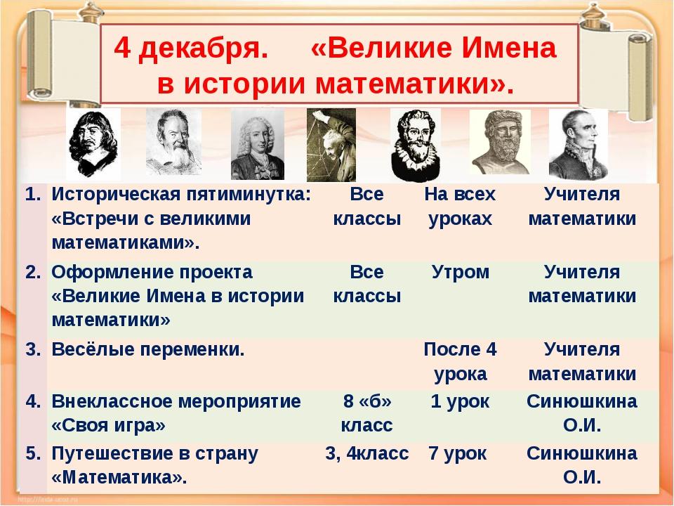 4 декабря. «Великие Имена в истории математики». 1. Историческая пятиминутка:...