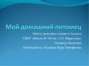 Работу выполнил ученик 4 Акласса ГБОУ «Школа № 760 им. А.П. Маресьева» Назарч